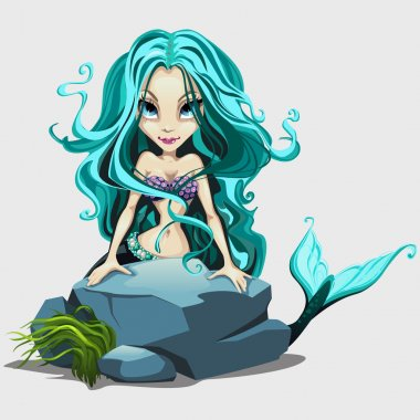 Cute mermaid with long blue hair behind a rock