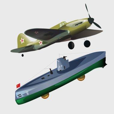 Military aircraft and submarine