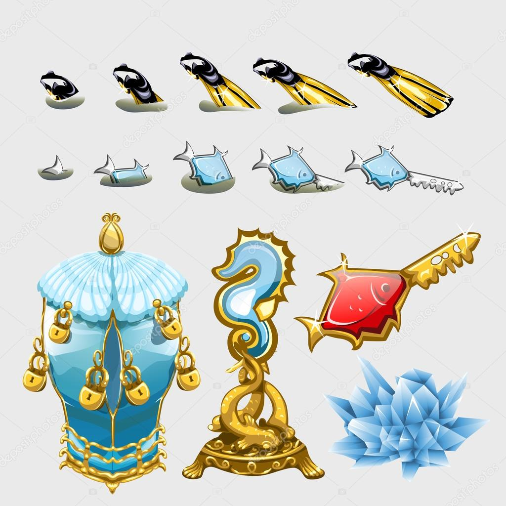 Marine set of fishes with keys, fins and treasures