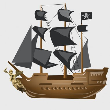Ancient pirate ship with black sails and flag