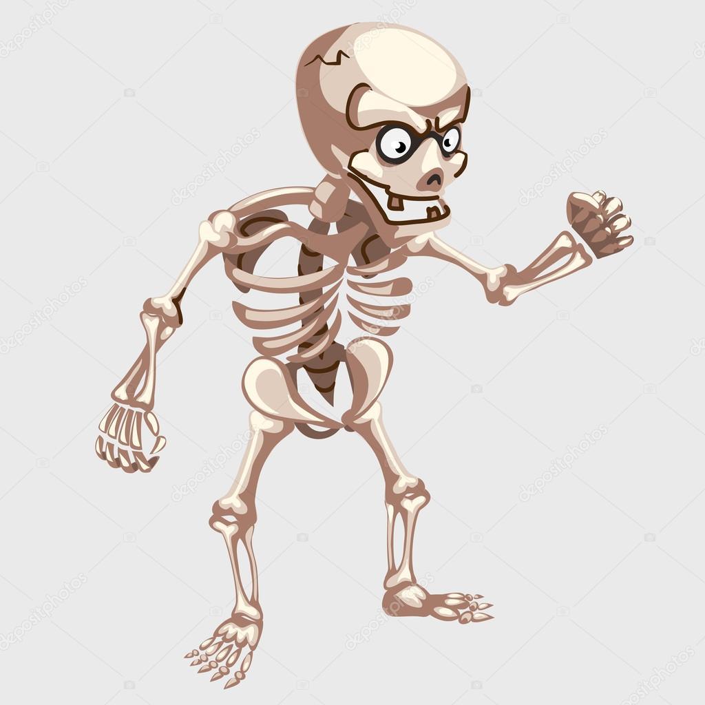 Closeup de esqueleto humano con los ojos en estilo de dibujos ...