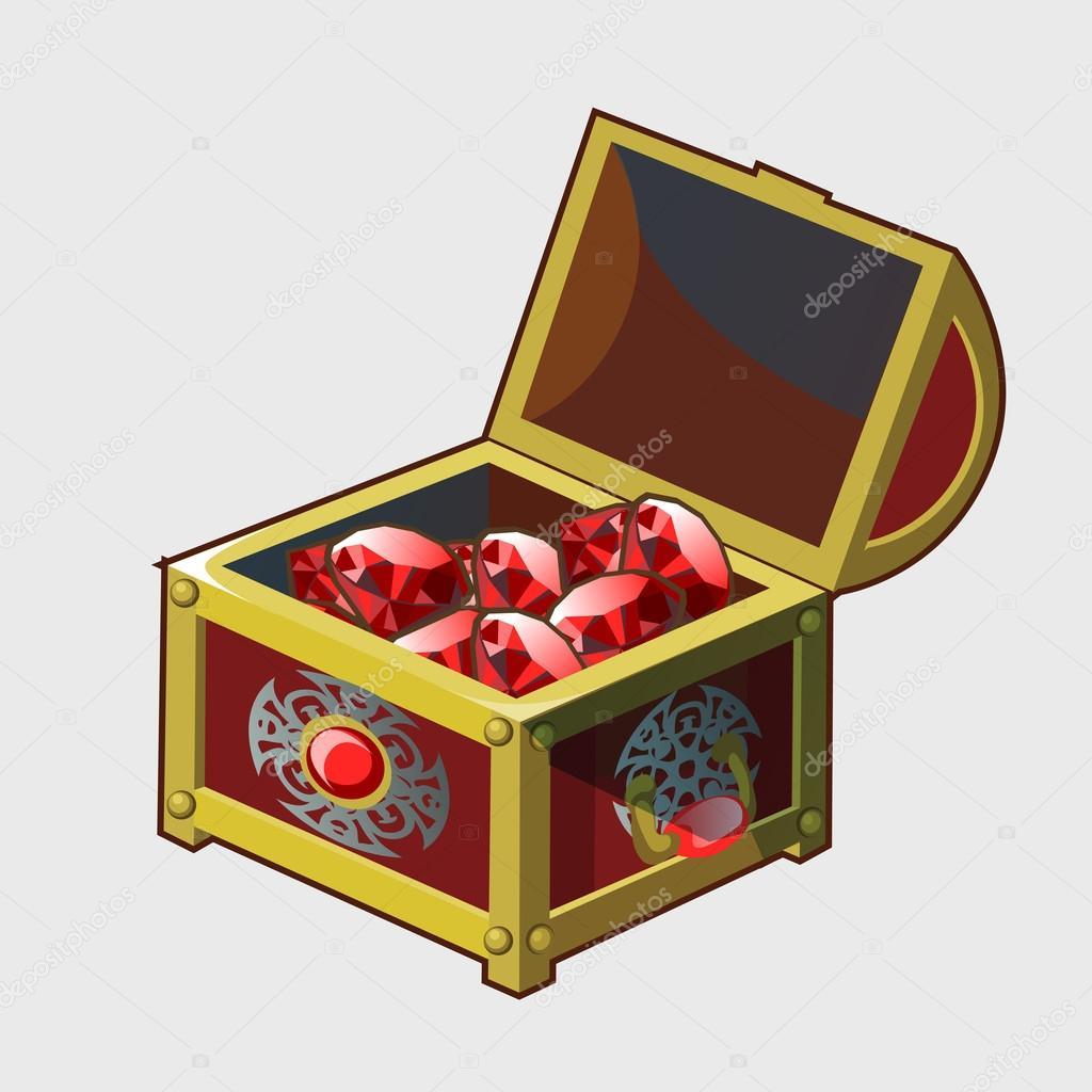 golden royal treasure chest full of rubies u2014 stock vector
