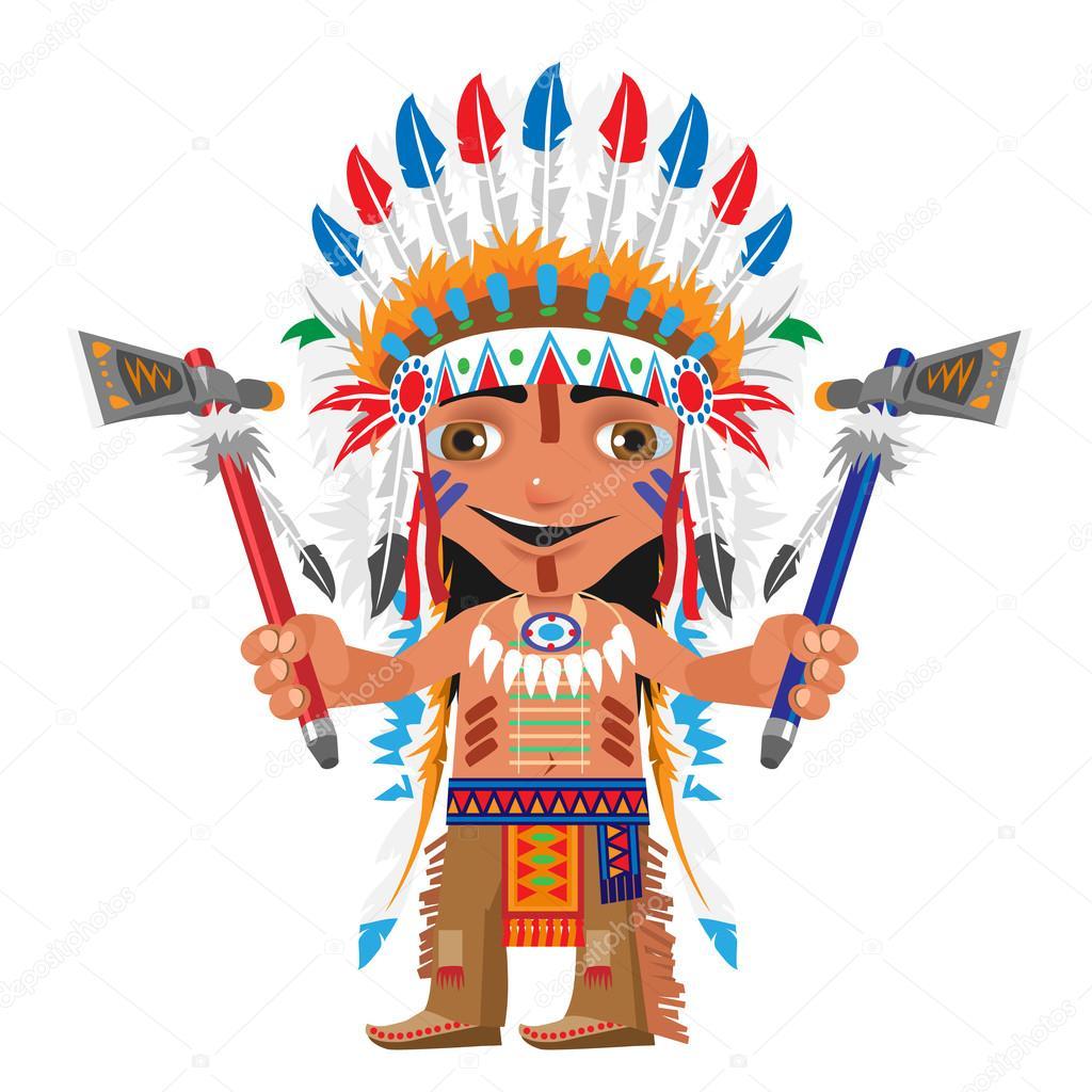 Personnage de dessin anim indien avec hache image vectorielle anton lunkov 106938190 - Dessin anime indien cheval ...