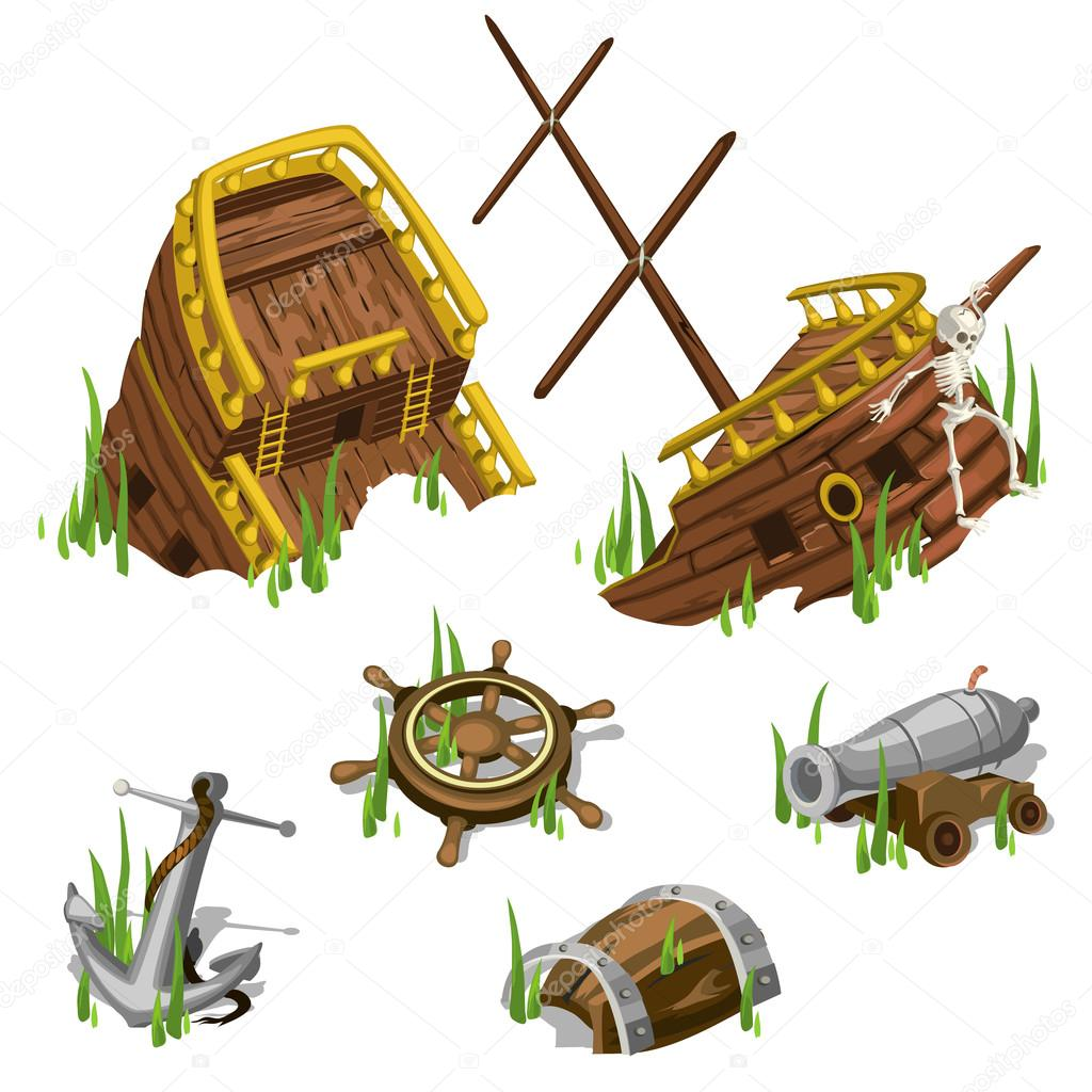 Fragments and parts of a pirate ship isolated