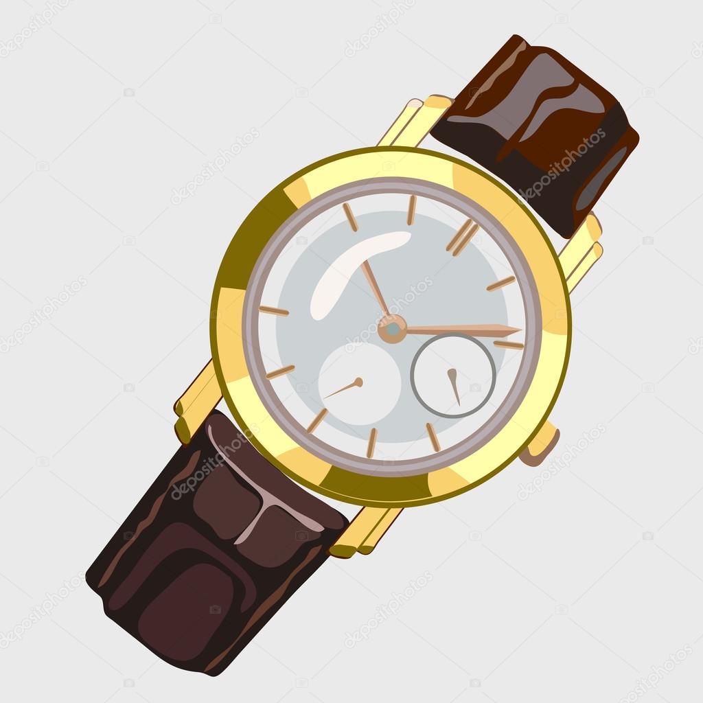992bc522653 Klasické pánské hodinky s hnědý pásek a ciferník zlaté — Stock ...