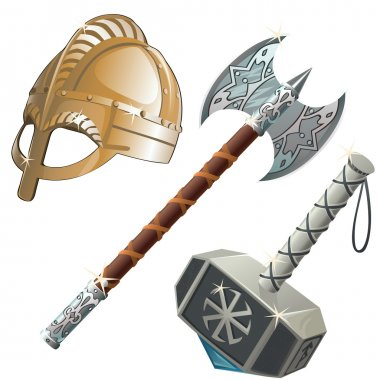 Historical weapons, axe, hammer and helmet