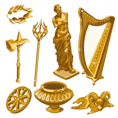 Harp, statue, weapons and other items of antiquity