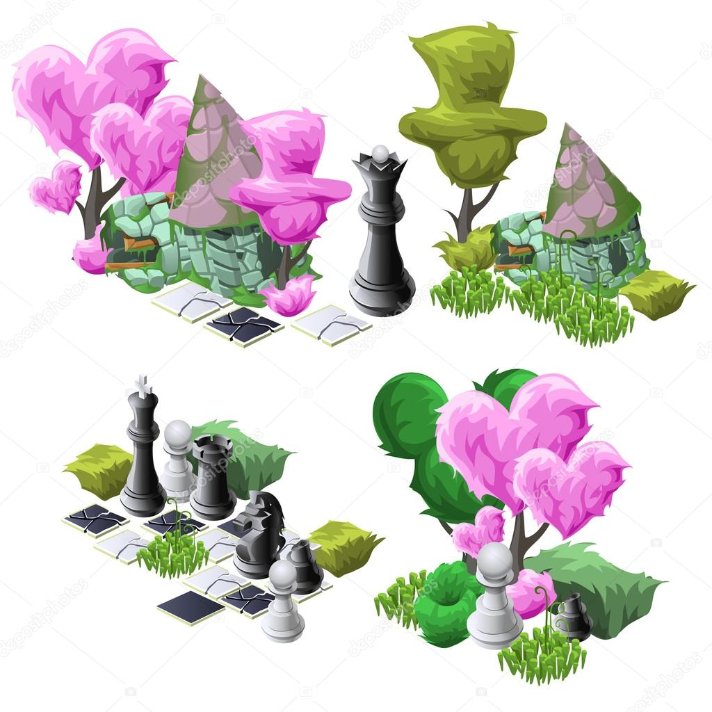 Scenery with topiary trees, chess and fairy house