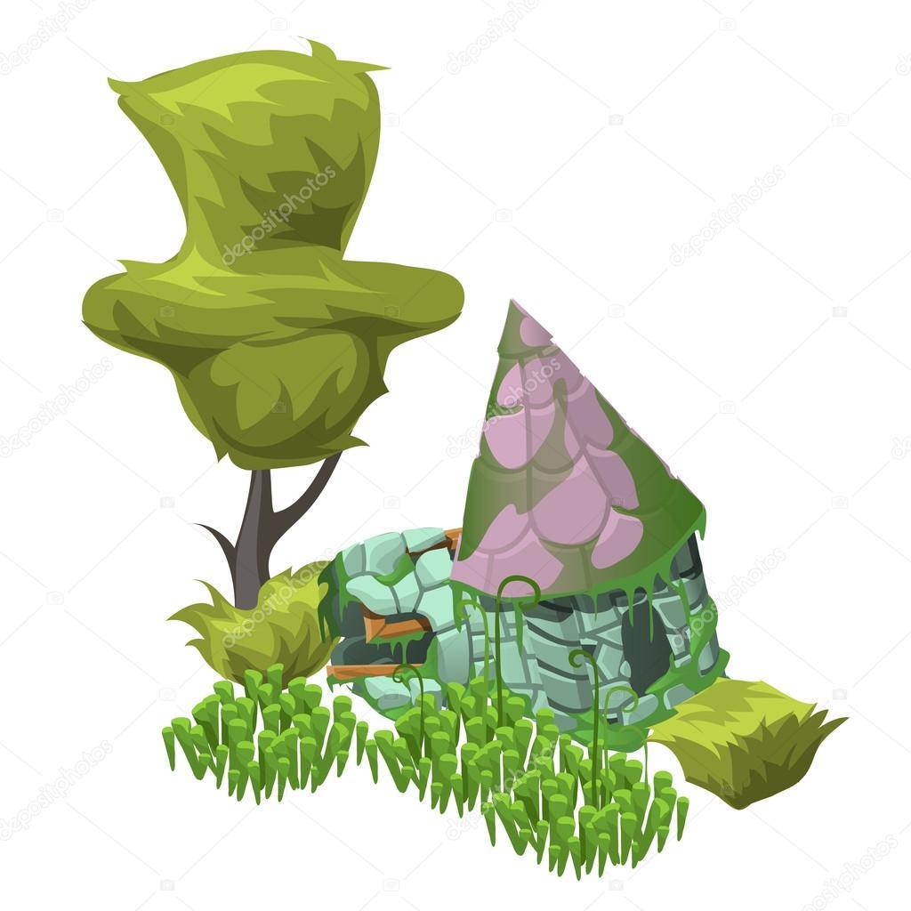 Arbre vert de buissons et dune maison abandonnée vecteur de composition dans le style de dessin animé vecteur par