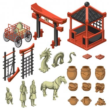 Build, snake, samurai and decor in Asian style