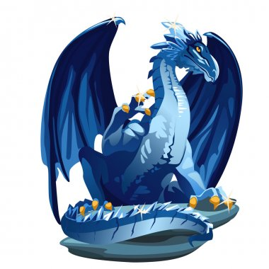 Figure icy blue dragon with Golden claws