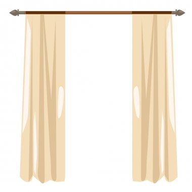 Beige kitchen curtains on ledge, vector decor