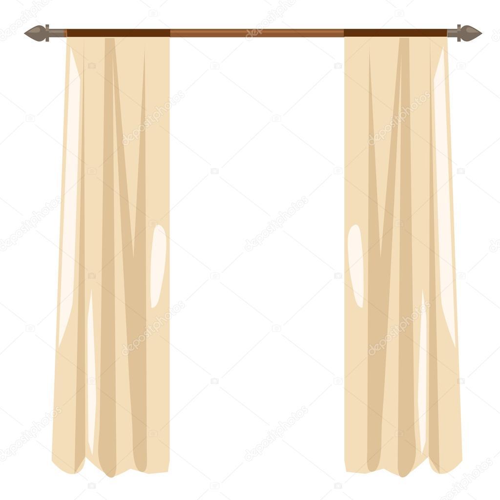 Rideaux de cuisine beige sur corniche, décor de vecteur — Image ...