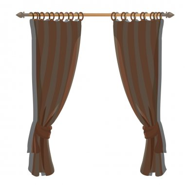 Brown kitchen curtains on the ledge, vector decor