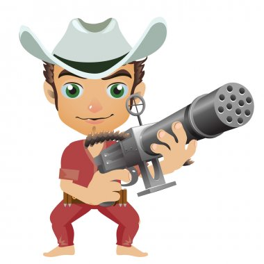 Man in the hat armed with machine gun