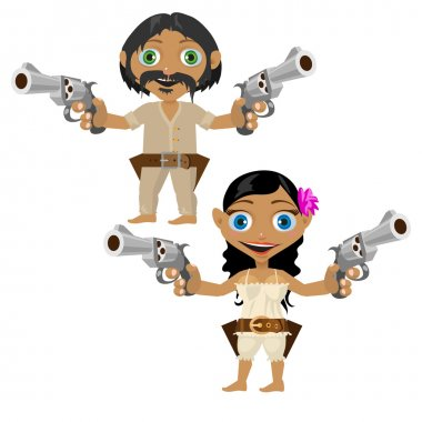 Mexican man and woman with guns, vector characters