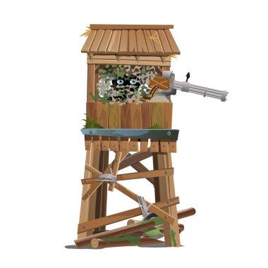 Observation tower with machine gunner
