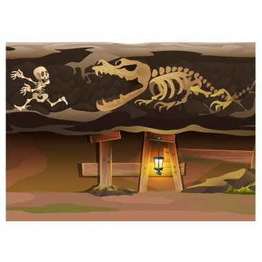 Game concept, underground with human and animal skeleton stock vector