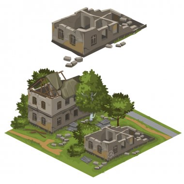 Several destroyed buildings and trees, vector city