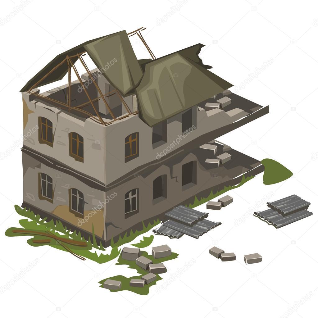 un edificio de dos plantas destruido  vector aislado earthquake clipart png earthquake clip art for schools