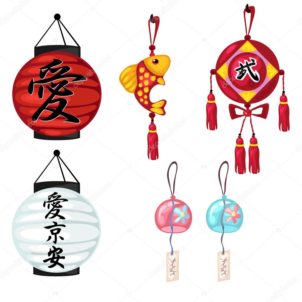 Chinese Paper Lanterns And Other Oriental Symbols Stock Vector