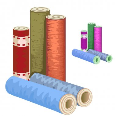 Many varieties of wallpaper rolls