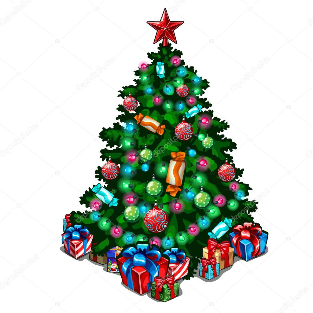 Decorated Christmas tree with toys and gifts