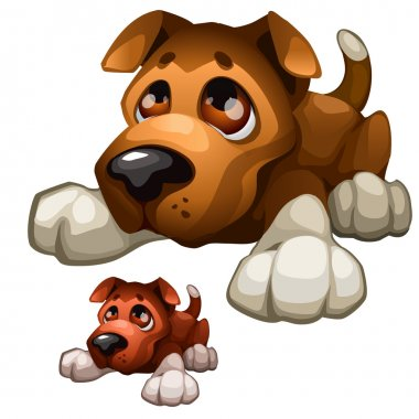 Sad brown cartoon dog, vector isolated