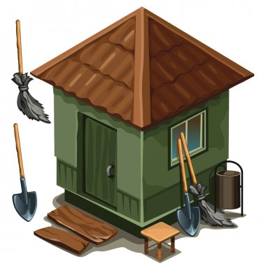 Simple village house, broom and shovel