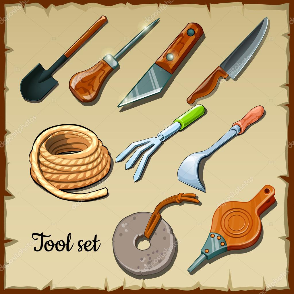 Set of tools gardeners on parchment paper