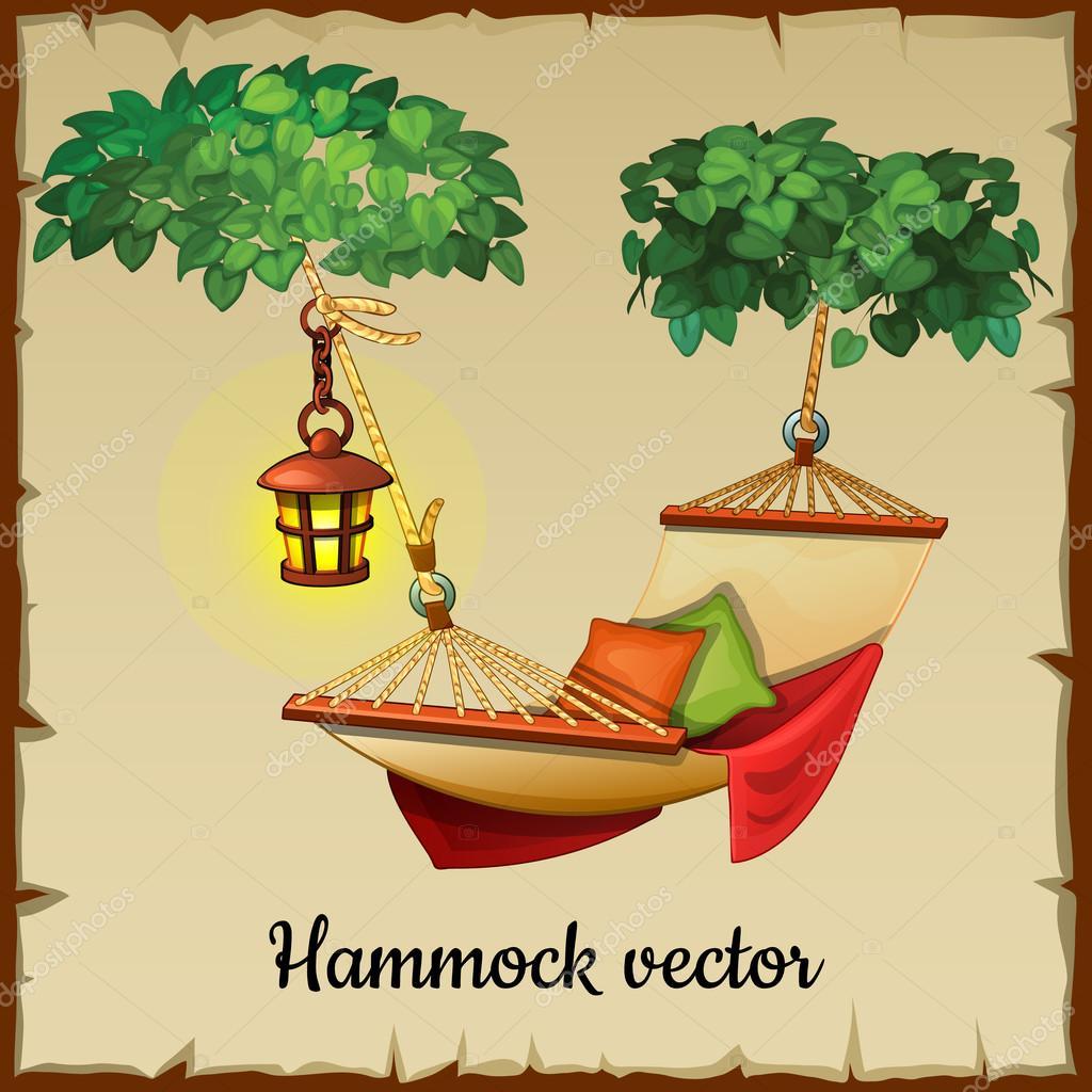 Comfortable hammock, tree and street lamp