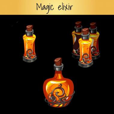 Set of vintage magic elixirs, three bottles