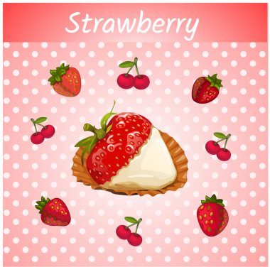 Strawberries with cream on a pink background