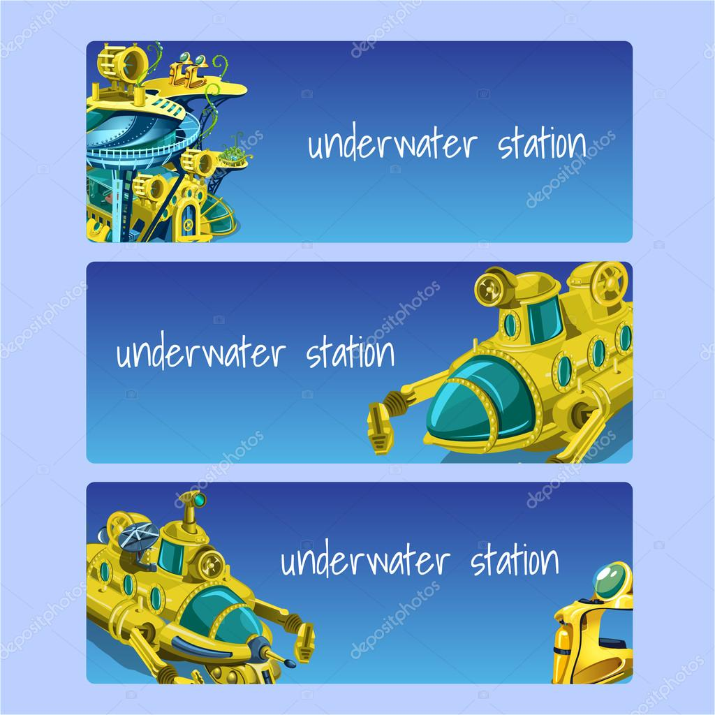 Underwater station, cards on a blue background