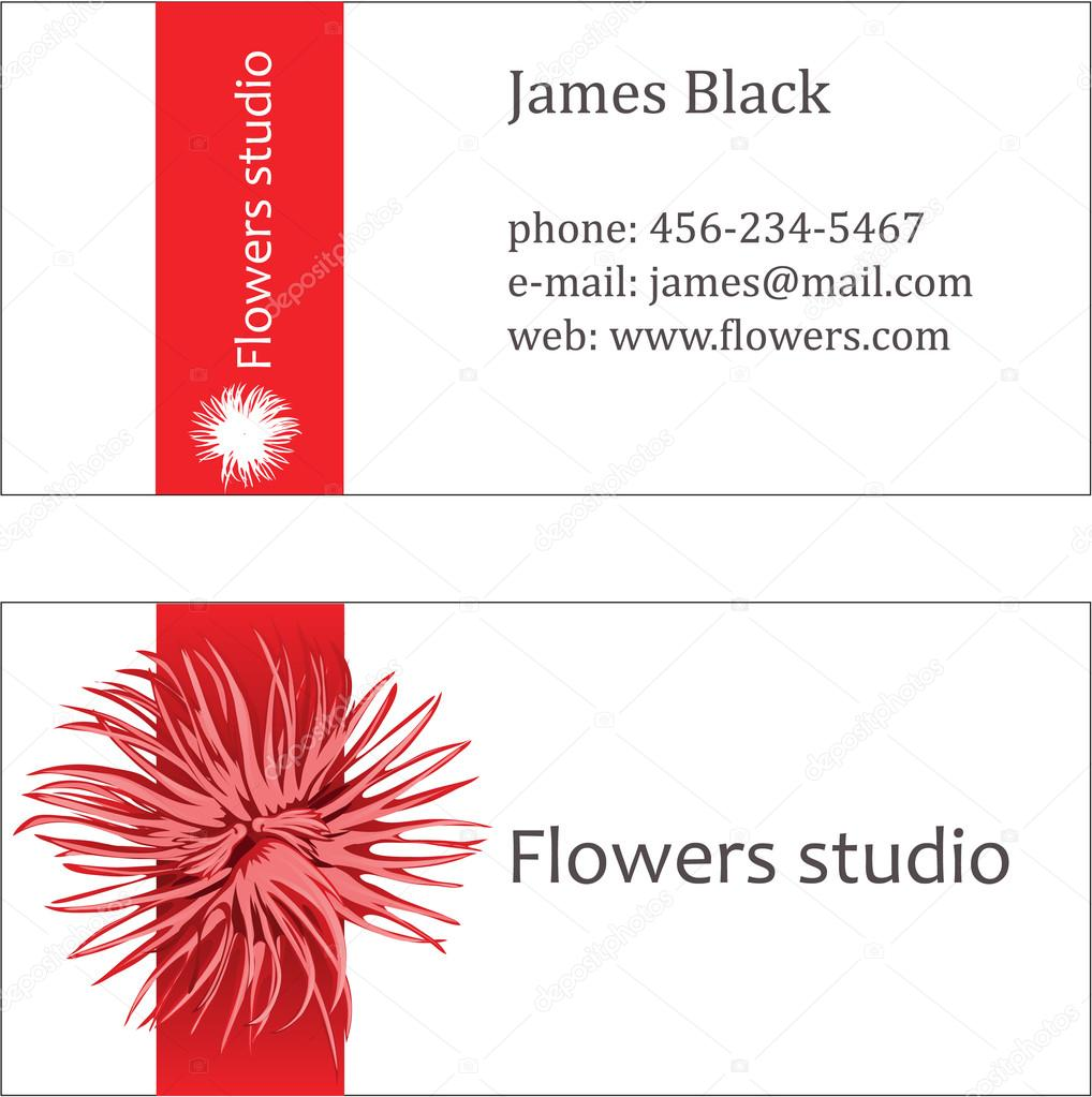 Red floral design business visiting card — Stock Vector ...