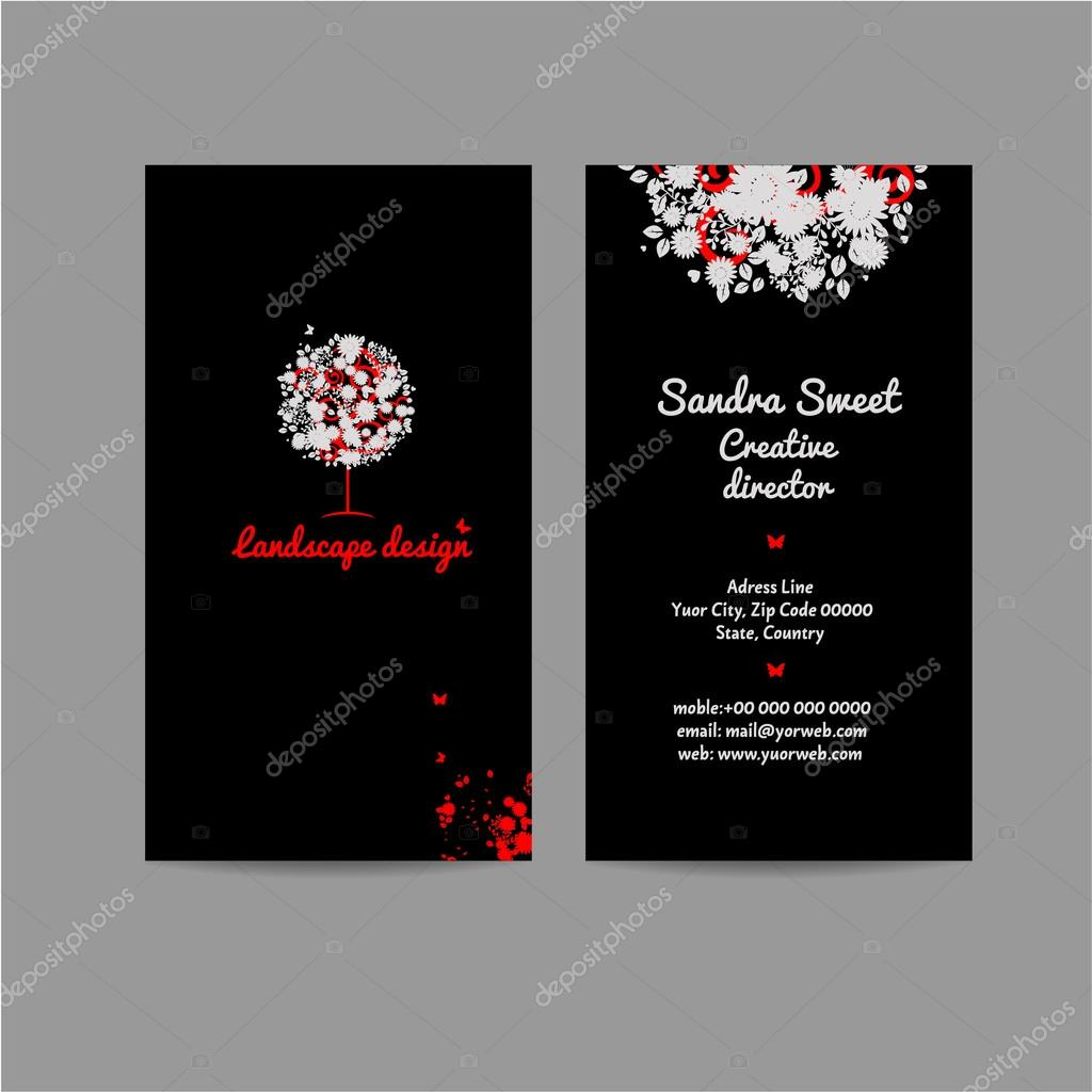 Landscape desing vertical business card, name card