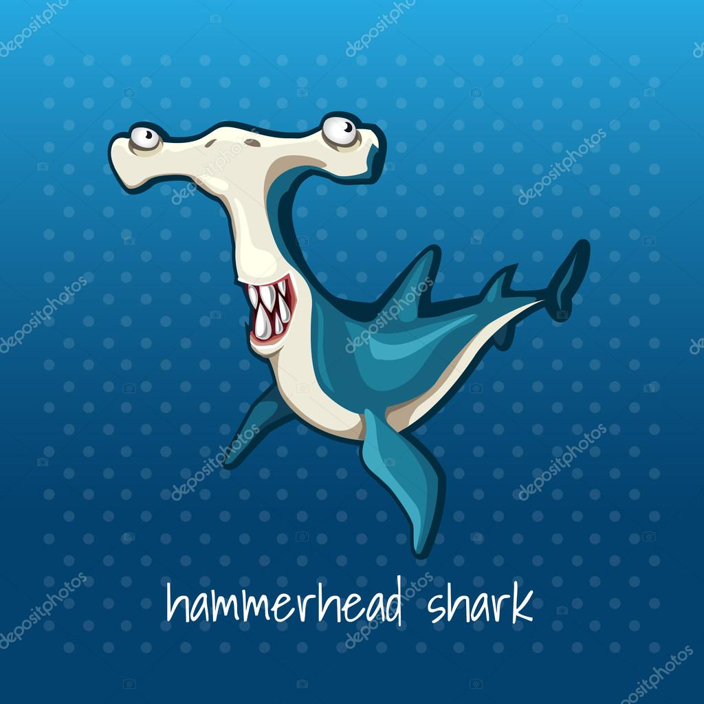 Fish hammer smiling on a blue background