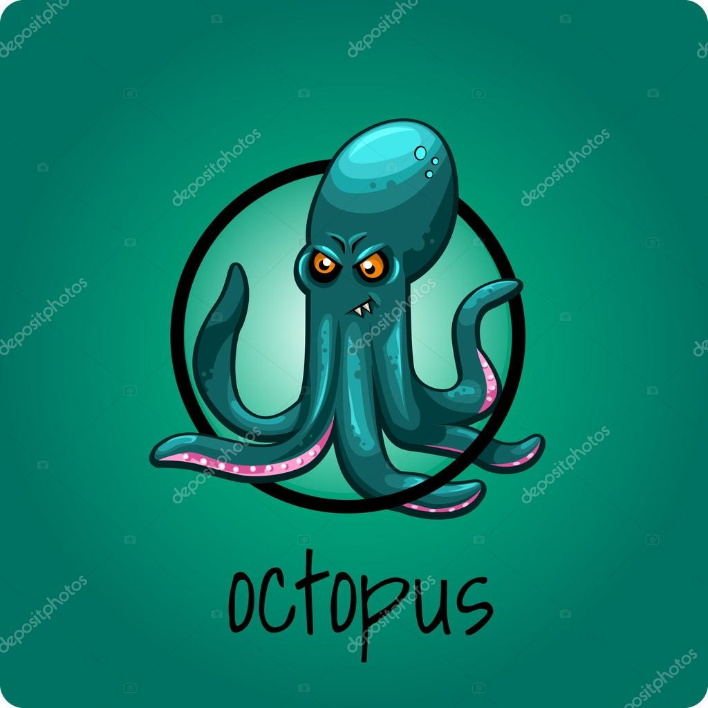 Single octopus on a green background
