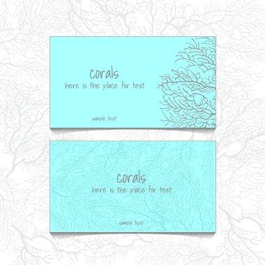 Coral blue design horizontal business card