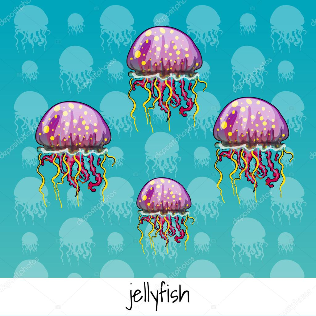 Set of spotted jellyfish with labeled