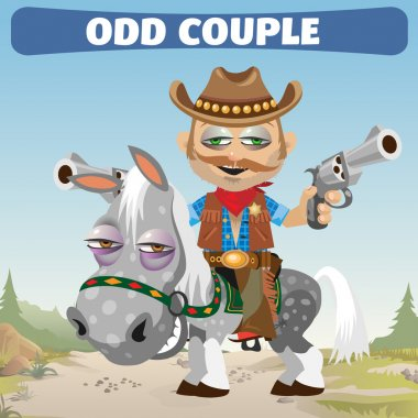 odd couple Cowboy rider and horse