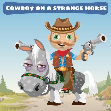 Cowboy rider on a strange horse
