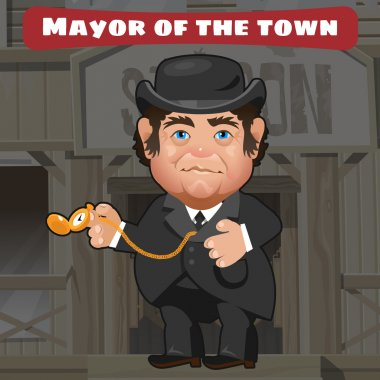 Cartoon character in Wild West - mayor in the town
