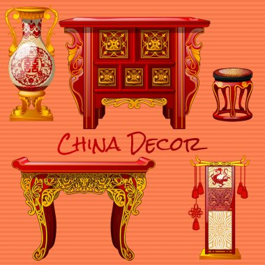 Vintage furniture in the Chinese style, five objects