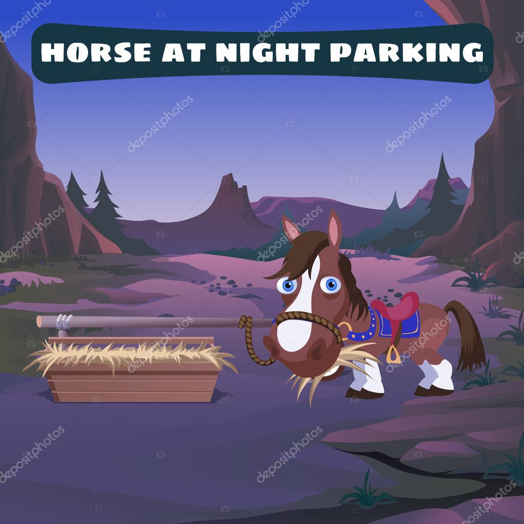 Horse at night parking in the Wild West