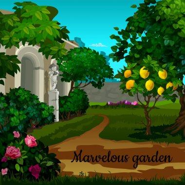 Magic garden with citrus tree, flowers and statuett