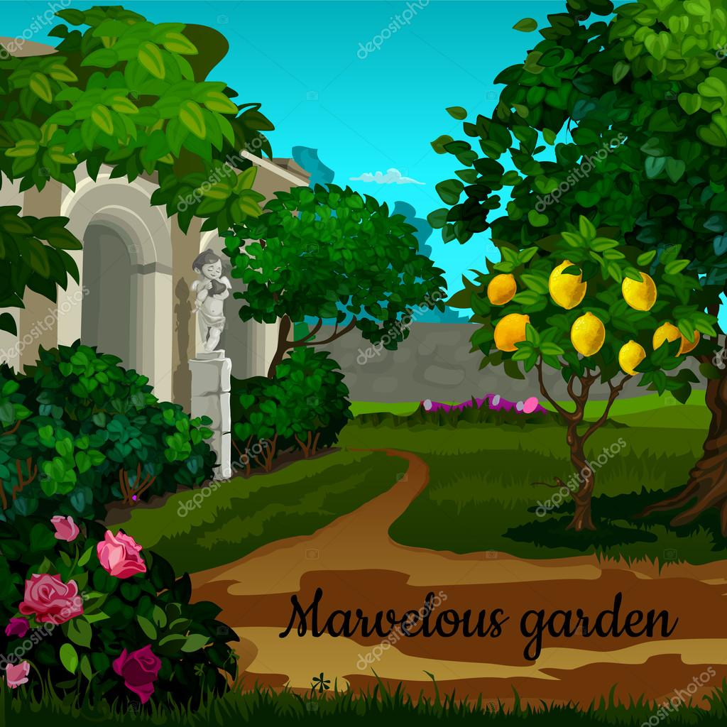 Magic garden with citrus tree, flowers and statuett