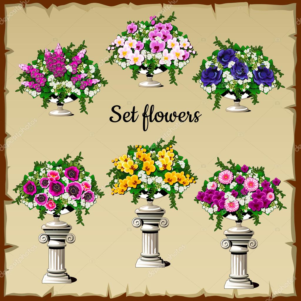Different flowers bouquets in antique vases