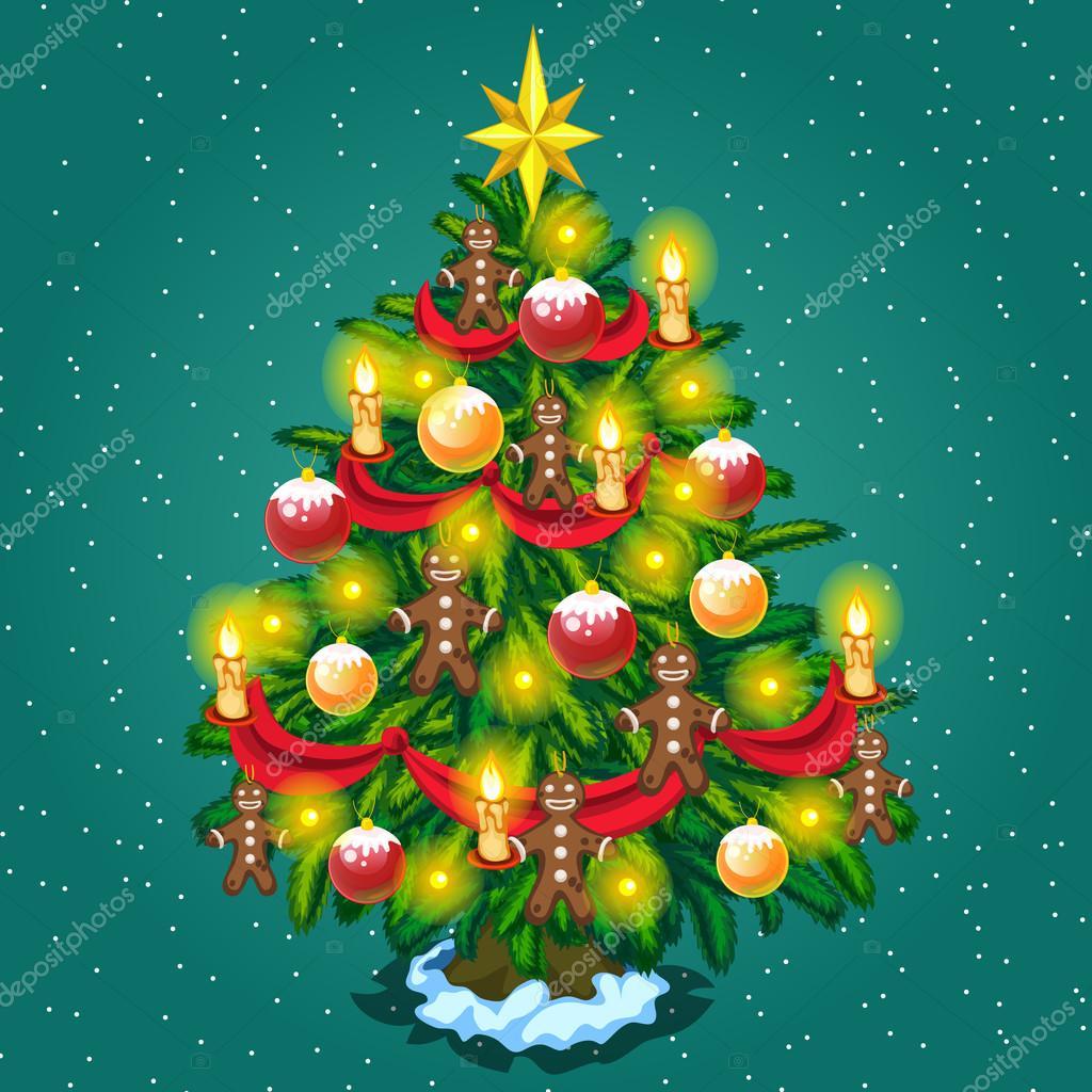 Primo Piano Dellalbero Di Natale Con Figure Di Uomini Vettoriali