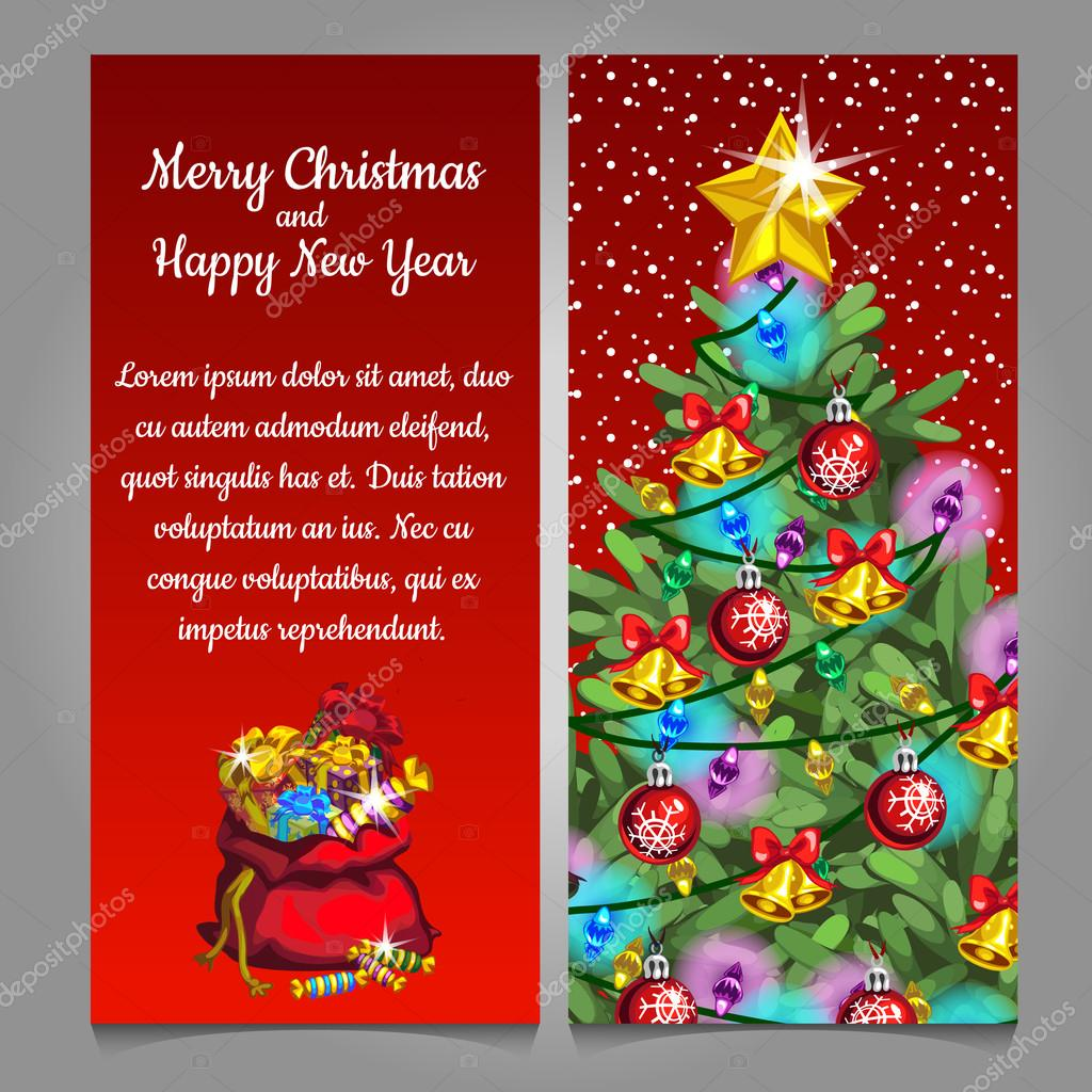 Two Vertical Card With Christmas Tree And Bag Gifts Sample Text On A Red Background Vector By Anton Lunkov